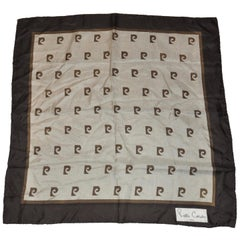 Pierre Cardin Coco Brown Signature Logo Silk Scarf