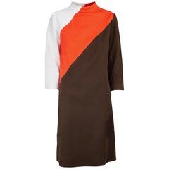 Pierre Cardin colour-block jersey dress. circa 1960s