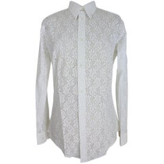 Pierre Cardin Creation White Cotton Lace Floral Shirt Vintage White, 1970s