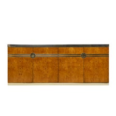 Pierre Cardin Credenza Burl and Brass Hollywood Regency