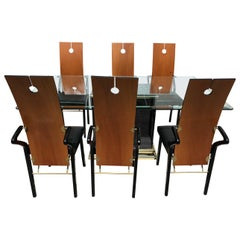 Pierre Cardin Dining Room Set, 6 Keyhole Back Arm Chairs #26406 & Pedestal Table
