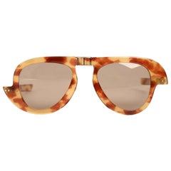PIERRE CARDIN Foldable Asymmetric Avant-Garde Tortoise Sunglasses, c. 1964