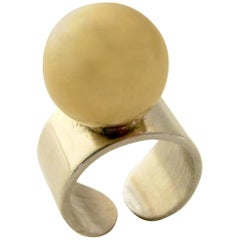 Pierre Cardin Gold Sterling Disco Mod Ring