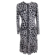 Pierre Cardin Gray Black Wool Animalier Long Dress