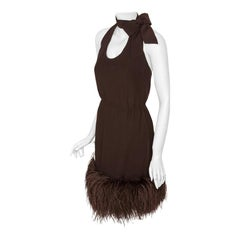 Pierre Cardin Haute Couture Chiffon Cocktail Dress w/Ostrich Feather Trim