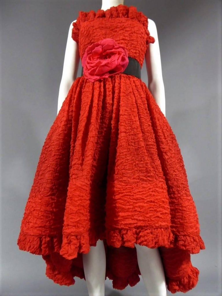 Pierre Cardin Haute Couture Red Silk strapless cocktail dress, Circa 1980 For Sale 7