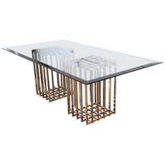 Pierre Cardin Hollywood Regency Dining Table in Brass, Nickel, and Glass, 1970s