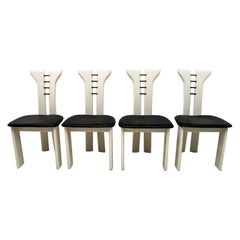 Pierre Cardin Ivory Lacquered Chairs with Wooden Details and Black Leather, 1979
