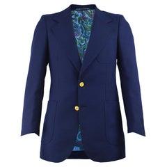 Pierre Cardin Men's 1970s Blue Paisley Lined Vintage Blazer Jacket