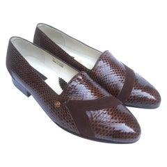 Pierre Cardin Men's Brown Snakeskin Dress Shoes New Vintage US Size 11 c 1970s