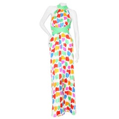Pierre Cardin Mid-Late 1960's Silk Twill Abstract Spot Motif Neck Ribbon Gown