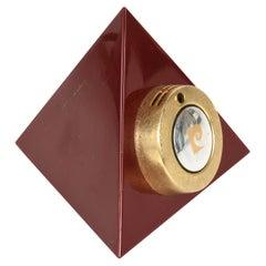 Pierre Cardin Midcentury Bordeaux Plexiglass Pyramidal French Table Lighter 1970