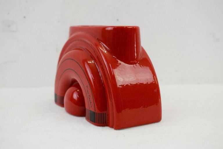 Italian Pierre Cardin Modern Red Porcelain Vase Franco Pozzi Ceramica, 1970s, Italy For Sale