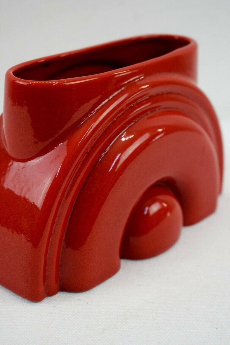 20th Century Pierre Cardin Modern Red Porcelain Vase Franco Pozzi Ceramica, 1970s, Italy For Sale