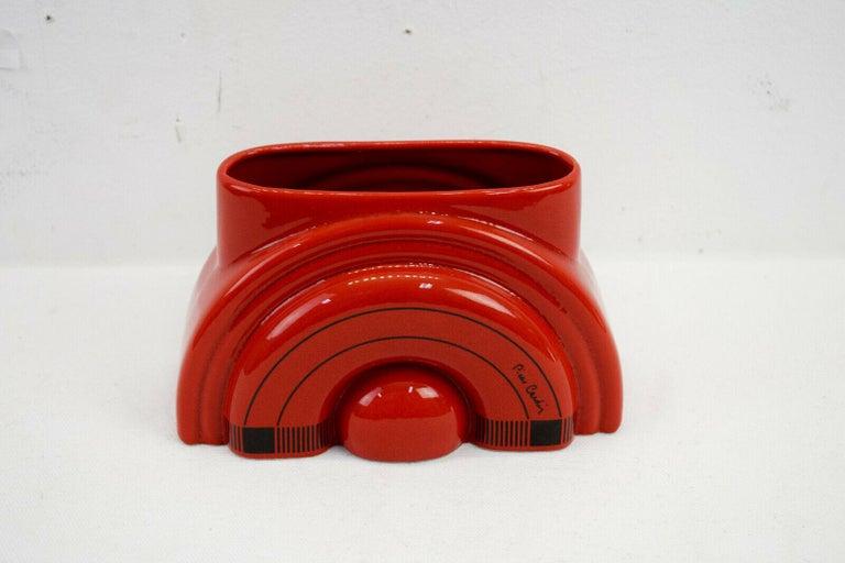 Pierre Cardin Modern Red Porcelain Vase Franco Pozzi Ceramica, 1970s, Italy For Sale 2