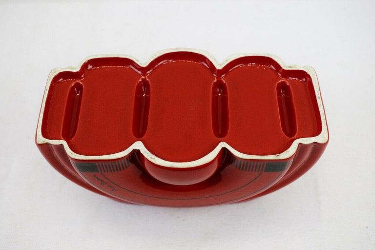 Pierre Cardin Modern Red Porcelain Vase Franco Pozzi Ceramica, 1970s, Italy For Sale 4