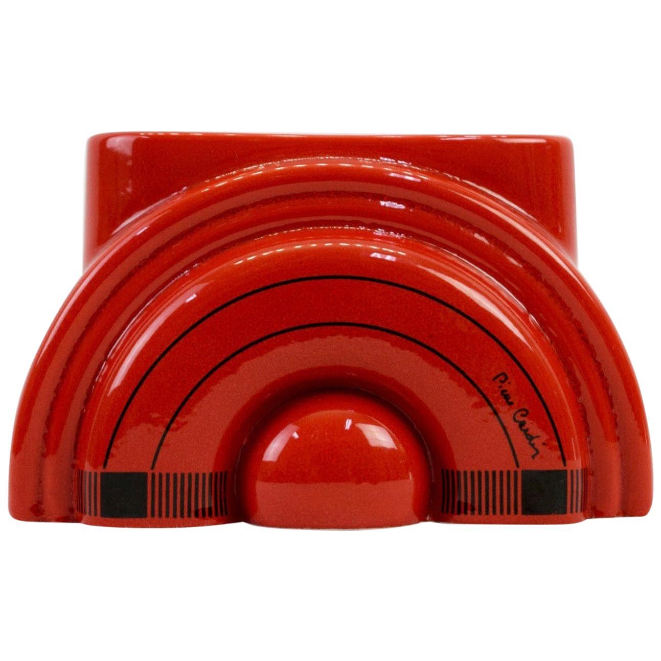 Pierre Cardin Modern Red Porcelain Vase Franco Pozzi Ceramica, 1970s, Italy