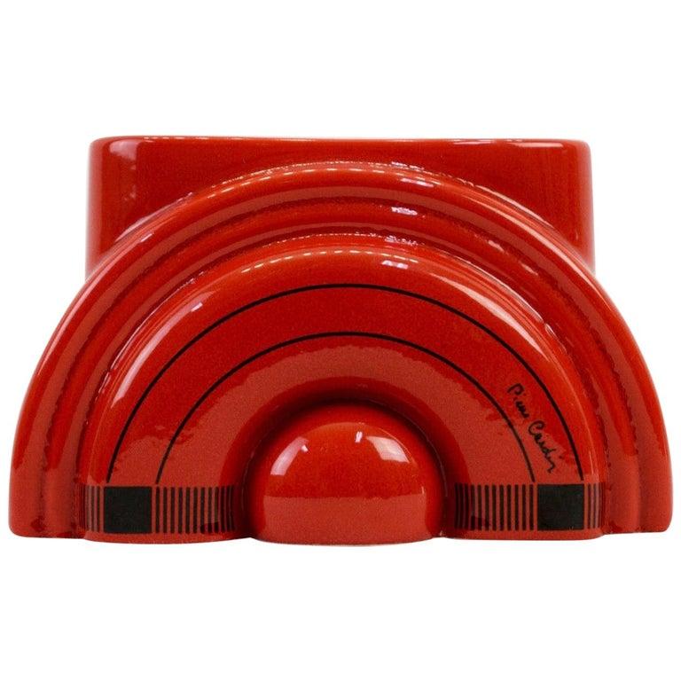 Pierre Cardin Modern Red Porcelain Vase Franco Pozzi Ceramica, 1970s, Italy For Sale