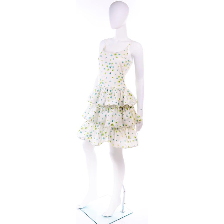 Gray Pierre Cardin Numbered Boutique Dress w/ Ruffles in Green & Blue Floral Print For Sale