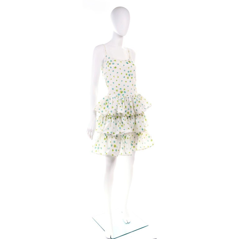 Pierre Cardin Numbered Boutique Dress w/ Ruffles in Green & Blue Floral Print For Sale 2