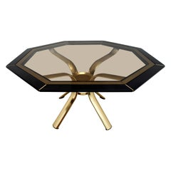 Pierre Cardin Octagonal Dining Table Black Lacquer with Brass Inserts and Base