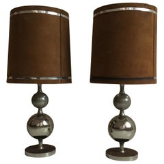 Pierre Cardin Oversized Chrome and Suede Table Lamps, France, 1970s