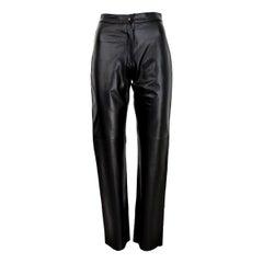 Pierre Cardin Paris Black Leather Pants Regular Fit Biker Trousers 1990s