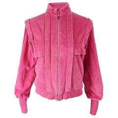 Pierre Cardin Pink Chenille Velour Tracksuit Top Jacket