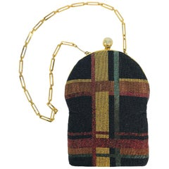3903bb145e Pierre Cardin Plaid Caviar Beaded Gold Frame Evening Bag 1970s