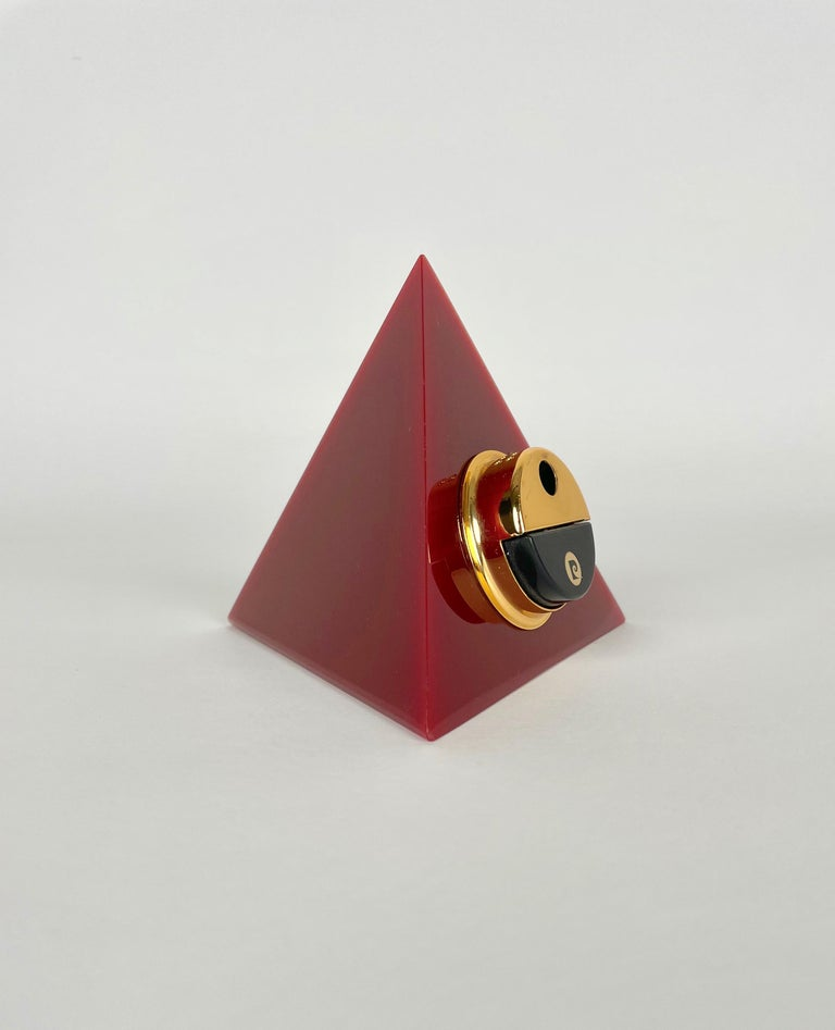 Late 20th Century Pierre Cardin Pyramid Bordeaux Lucite Table Lighter, France, 1970s For Sale
