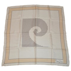 Pierre Cardin Rare Wonderful Signature Logo Silk Scarf