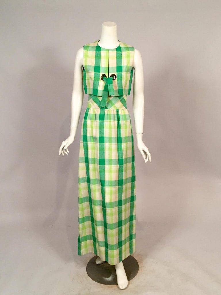 Gray Pierre Cardin Raw Silk Two Piece Plaid Maxi Dress For Sale