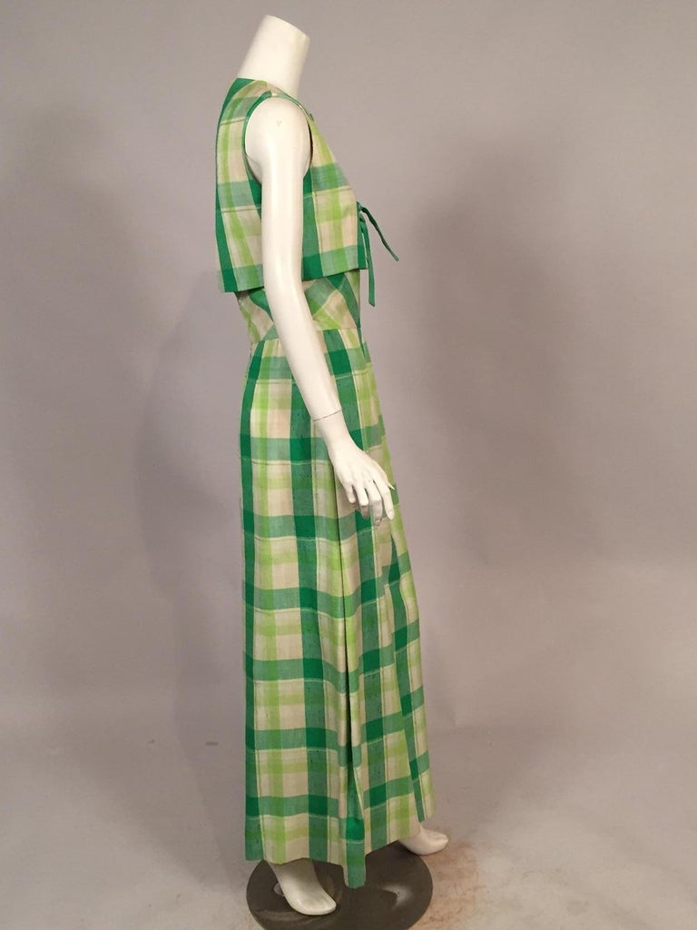 Pierre Cardin Raw Silk Two Piece Plaid Maxi Dress In Excellent Condition For Sale In New Hope, PA