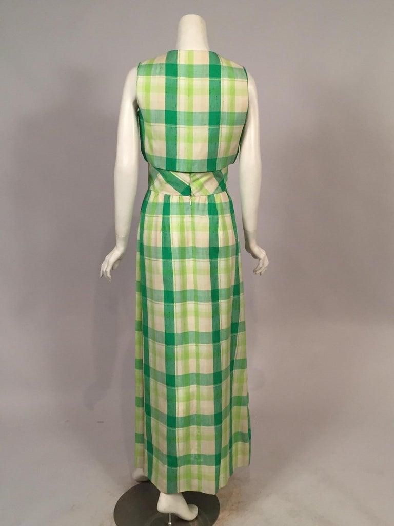 Women's Pierre Cardin Raw Silk Two Piece Plaid Maxi Dress For Sale