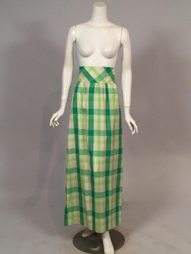 Pierre Cardin Raw Silk Two Piece Plaid Maxi Dress For Sale 2