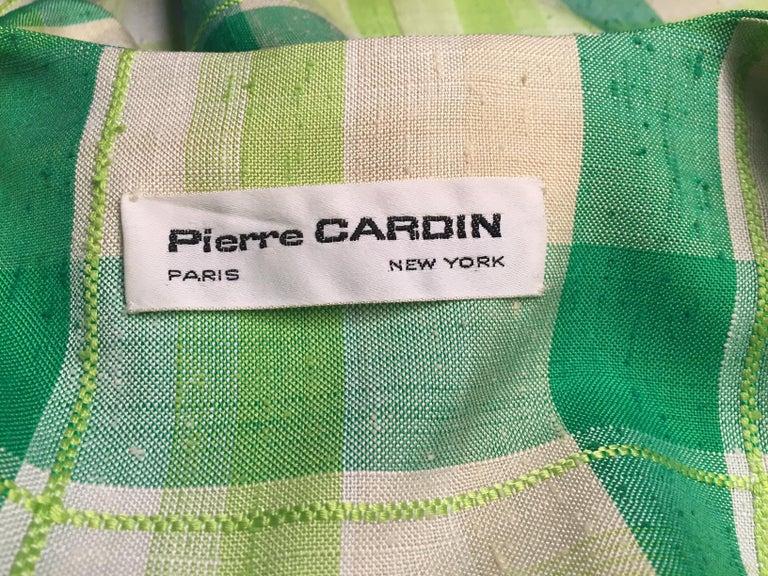 Pierre Cardin Raw Silk Two Piece Plaid Maxi Dress For Sale 3