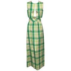 Pierre Cardin Raw Silk Two Piece Plaid Maxi Dress