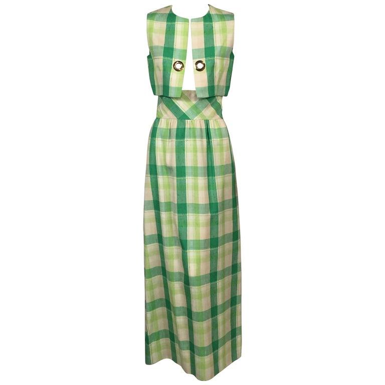 Pierre Cardin Raw Silk Two Piece Plaid Maxi Dress For Sale
