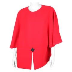 Pierre Cardin Red Wool Batwing Sleeve Dress