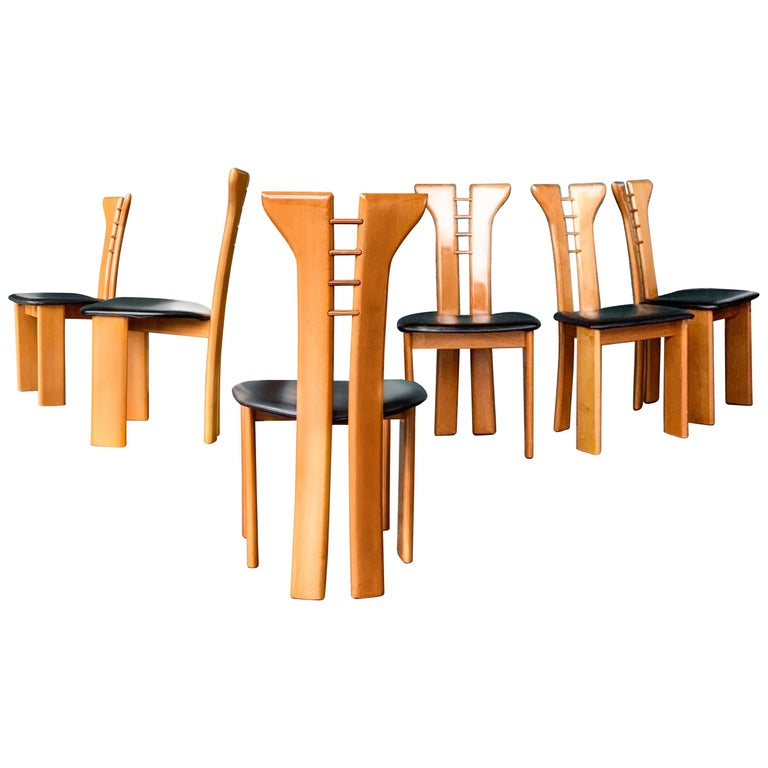 Pierre Cardin Roche Bobois Postmodern Wood & Leather Dining Chair Set, 1970s