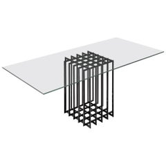 Pierre Cardin Sculptural Dining Table in Glass and Metal