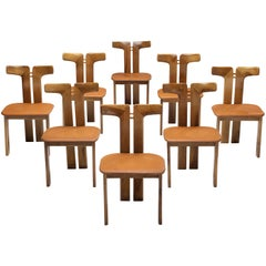 Pierre Cardin Set of Eight Dining Chairs in Walnut and Cognac Leather