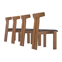 Pierre Cardin Set of Four Dining Chairs in Ash and Leather