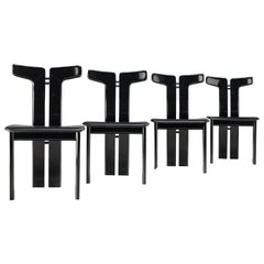 Pierre Cardin Set of Four Dining Chairs in Black Leather