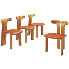 Pierre Cardin Set of Four Dining Chairs in Walnut and Cognac Leather