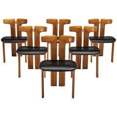 Pierre Cardin Set of Six Dining Chairs in Walnut and Black Leather