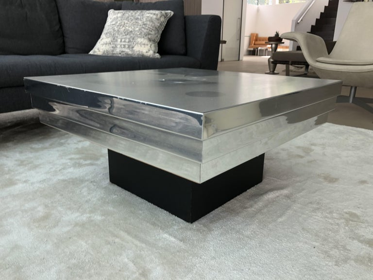 Pierre Cardin Side Table with a Graduated Aluminum Top For Sale 5