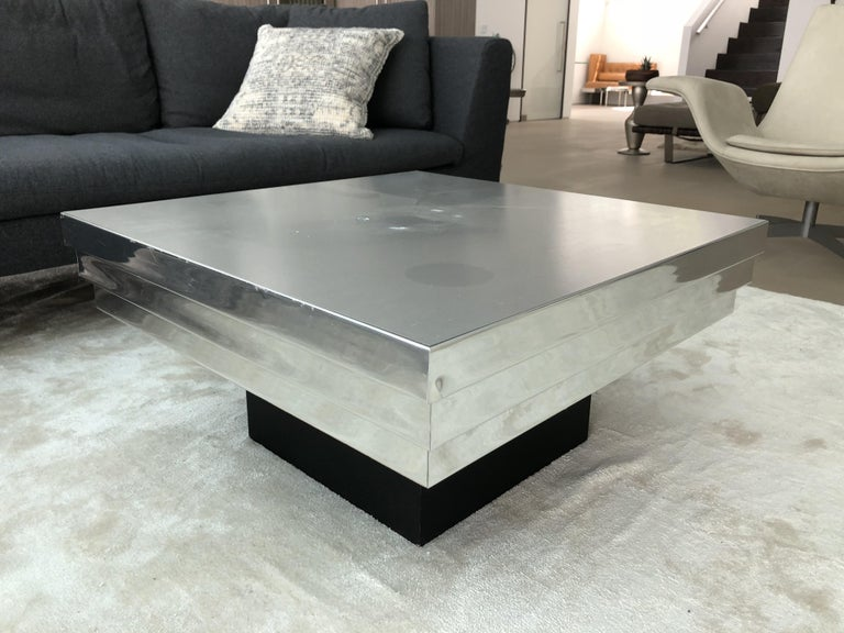Pierre Cardin Side Table with a Graduated Aluminum Top For Sale 2