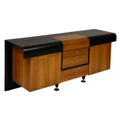Pierre Cardin Sideboard Buffet Dresser Black Brown Wood Brass Detail 1980s-1990s