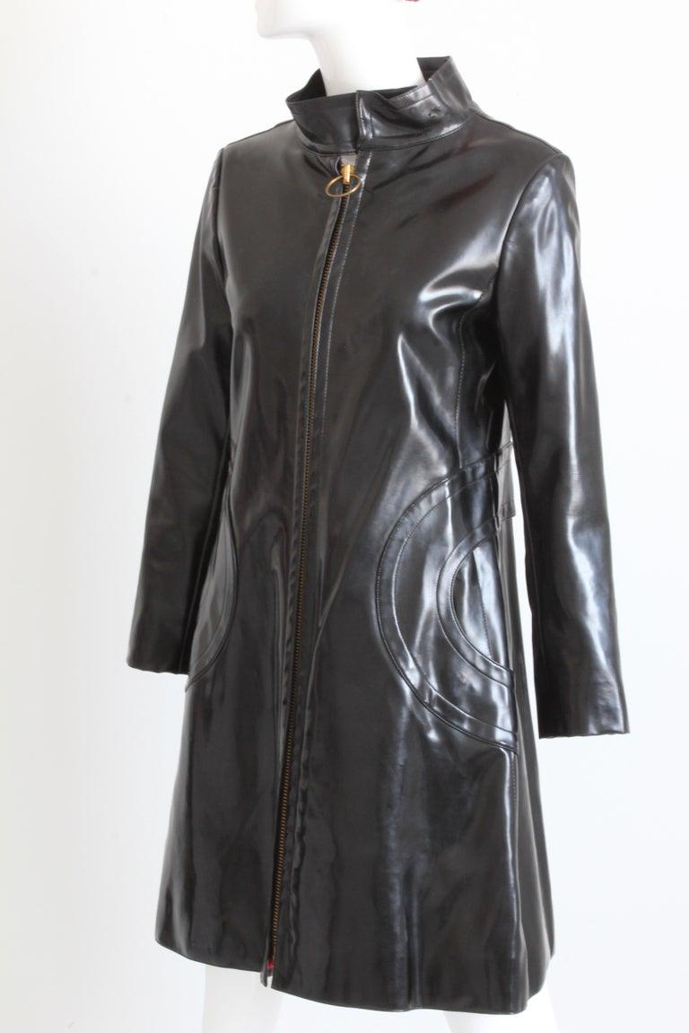 Women's Pierre Cardin Space Age Coat Black Vinyl Circle Pocket Jacket 1960s S/M  For Sale